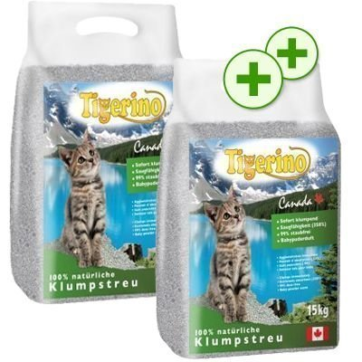 2 x zooPlusPisteitä: Tigerino Canada -säästöpakkaukset - mix: 15 kg hajustamaton & 15 kg vauvantalkintuoksuinen