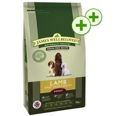 2x zooPlusPisteitä: 15/10 kg James Wellbeloved - Adult Grain-Free Lamb & Vegetables (10 kg)