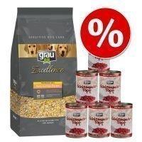 5 kg Grau Basic Vegetable Flakes + 6 x 400 g Grau Feast - kalkkuna & täysjyväriisi