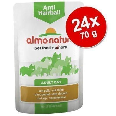 Almo Nature Anti Hairball Pouch -säästöpakkaus 24 x 70 g - kana