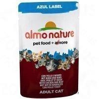 Almo Nature Azul Label 6 x 70 g -tuorepussit - mix: 3 x kana & naudanliha + 3 x tonnikala & lohi