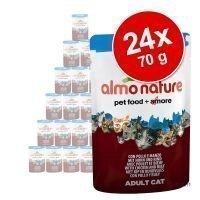Almo Nature Azul Label -säästöpakkaus 24 x 70 g - Azul Label: kana & naudanliha