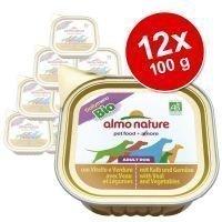 Almo Nature Daily Menu Bio -säästöpakkaus 12 x 100 g - mix 2: kana & vihannekset + kalkkuna