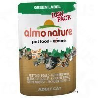 Almo Nature Green Label Raw 6 x 55 g -tuorepussit - mix: 3 x kanankoipi + 3 x kananrinta