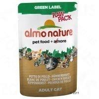 Almo Nature Green Label Raw 6 x 55 g -tuorepussit - mix: 3 x kanankoipi + 3 x kananrinta