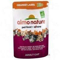 Almo Nature Orange Label Bio 6 x 70 g -tuorepussit - kana & vihannekset