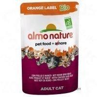 Almo Nature Orange Label Bio 6 x 70 g -tuorepussit - naudanliha & vihannekset