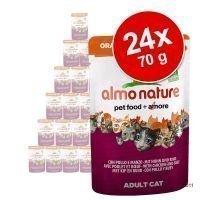 Almo Nature Orange Label Bio -säästöpakkaus 24 x 70 g - Orange Label Bio: naudanliha & vihannekset
