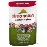 Almo Nature Rouge Label Filets 6 x 55 g -tuorepussit - mix: 3 x kanafile & surimi + 3 x tonnikalafile & merilevä