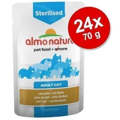 Almo Nature Sterilised Pouch -säästöpakkaus 24 x 70 g - kana