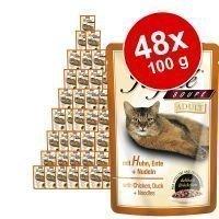 Animonda Rafiné Soupé -säästöpakkaus 48 x 100 g - Adult: lohta & katkarapuja yrttikastikkeessa