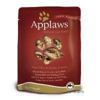 Applaws-kissanruoka 12 x 70 g - tonnikalafileet & Tyynenmeren katkaravut