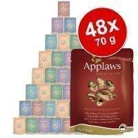 Applaws märkäruokapussi-säästöpakkaus 48 x 70 g - tonnikalafileet & kultaotsa-ahven