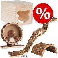 Cottage-tarvikesetti hamstereille ja hiirille - 4-osainen (juoksupyörän Ø 20 cm)