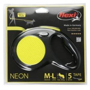 Flexi Koiran Flexi M-L 5m Nauha Max 50kg Neon