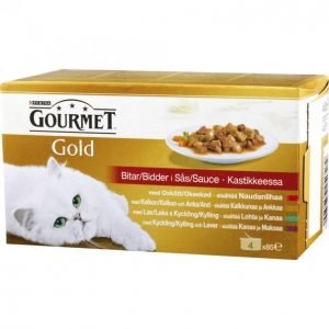 Gourmet Gold Kissanruoka 4x85g Kastikelajitelma