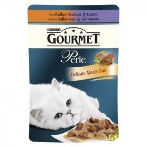 Gourmet Perle Kissanruoka 85 G Kalkkunaa & Lammasta Delicate Duo