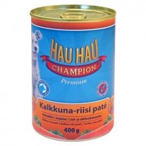 Hau-Hau Champion Koiranruoka 400g Kalkkuna-Riisi Patee
