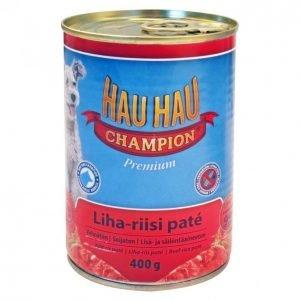 Hau-Hau Champion Koiranruoka 400g Liha-Riisi Patee