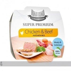Hau-Hau Super Premium Täysravinto Kanaa Ja Naudanlihaa Riisillä 3x100g