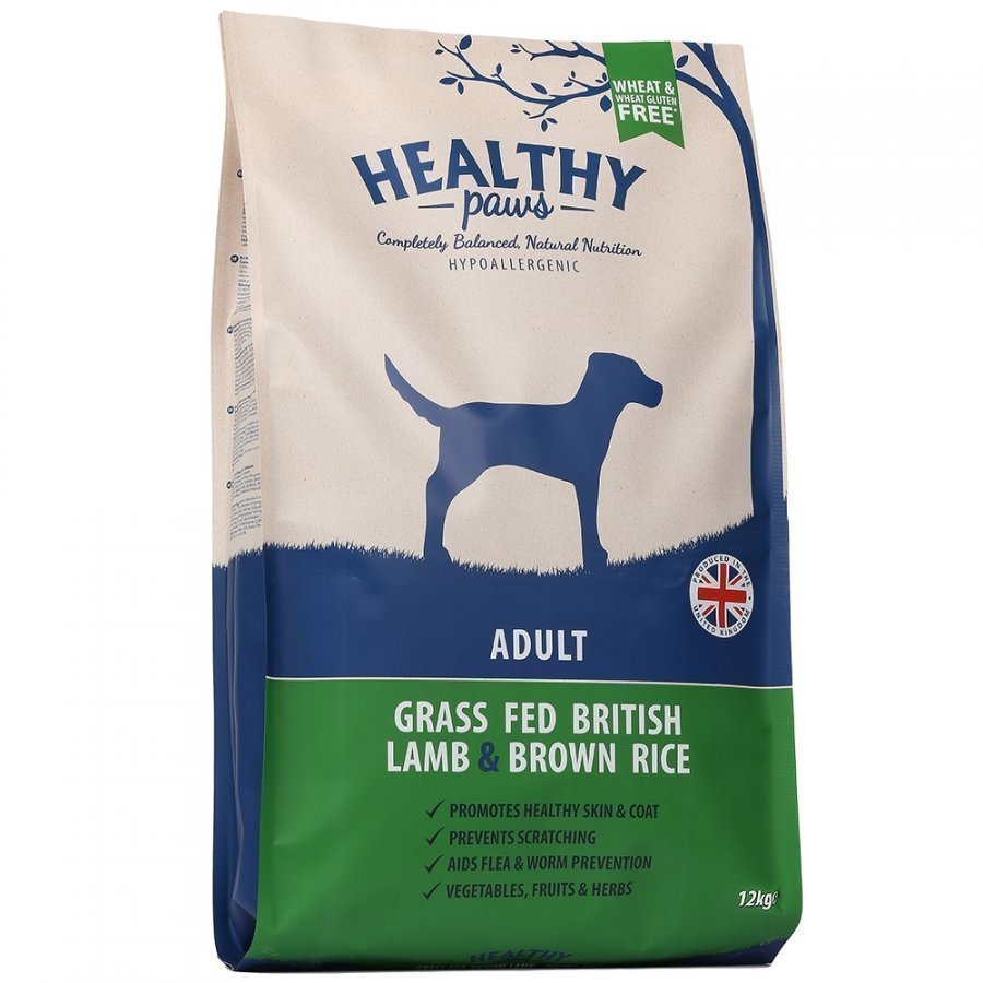 Healthy Paws Dog Adult Grass Fed British Lamb & Brown Rice 12 Kg
