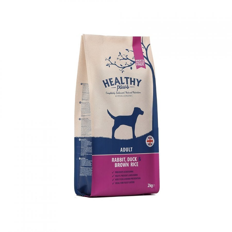 Healthy Paws Dog Adult Rabbit Duck & Brown Rice 2 Kg