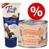 Pakettitarjous: Greenwoods-märkäruoka + Tubifrett-lohitahna - 6 x 200 g + lohitahna 70 g