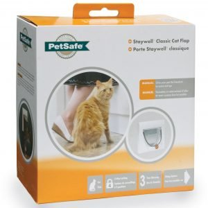 Petsafe Manual 4 Way Locking Classic Cat Flap White W / Tunnel Kissanluukku