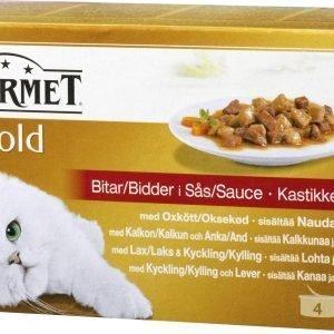 Purina Gourmet Gold 4x85g Kastikelajitelma Kissanruoka