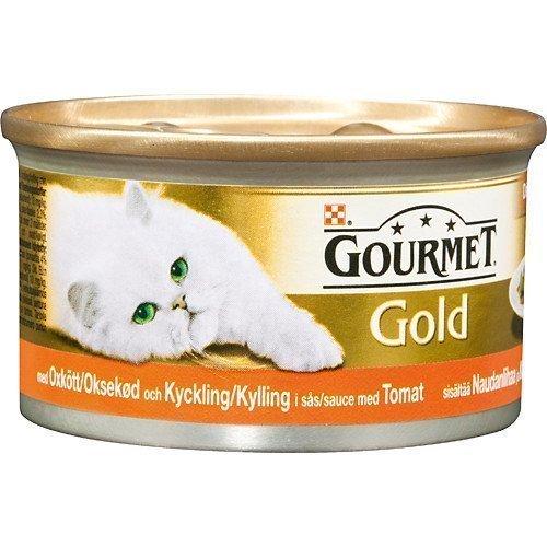 Purina Gourmet Gold Delicatesse Oxkött Och Kyckling I Tomatsås 24x85g