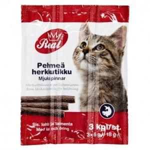 Real Cat Kissan Herkkutikku 3 Kpl Kala
