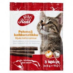 Real Cat Kissan Herkkutikku 3 Kpl Kalkkuna-Lammas
