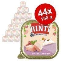 Rinti Finest -säästöpakkaus 44 x 150 g - Junior: kana & vasikka