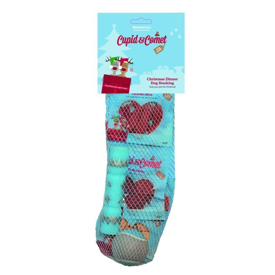 Rosewood Cupid & Comet Christmas Dinner Dog Stocking