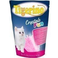 Tigerino Crystals Fun - värikäs kissanhiekka - vaaleanpunainen (3 x 5 l)