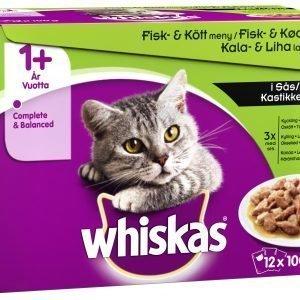Whiskas 1+ 12 X 100 G Kala&Lihalajitelma Kastikkeessa