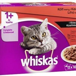 Whiskas 1+ 12 X 100 G Lihalajitelma Kastikkeessa
