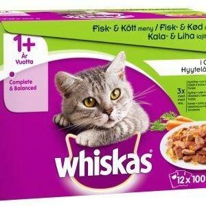 Whiskas 1+ Kala&Lihalajitelma Kasvis Hyytelössä 12 X 100 G Kissan Annospakkaus