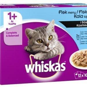 Whiskas 1+ Kalalajitelma Kastikkeessa 12 X 100 G Kissan Annospakkaus