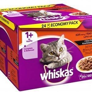 Whiskas 1+ Lihalajitelma Kastikkeessa 24 X 100 G Kissan Annospakkaus