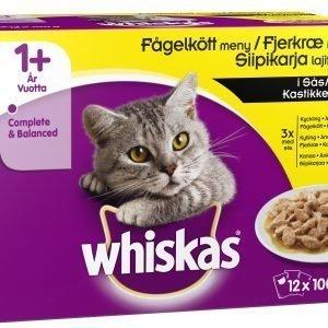 Whiskas 1+ Siipikarja Kastikkeessa 12 X 100 G Kissan Annospakkaus