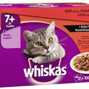 Whiskas 7+ 12 X 100 G Lihalajitelma Kastikkeessa