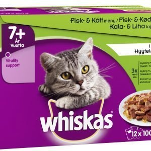 Whiskas 7+ Kala&Lihalajitelma Hyytelössä 12 X 100 G Kissan Annospakkaus