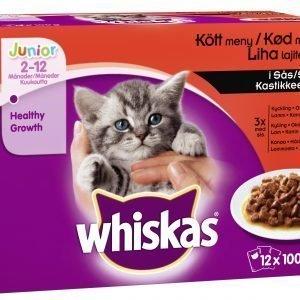 Whiskas Junior 12 X 100 G Lihalajitelma Kastikkeessa