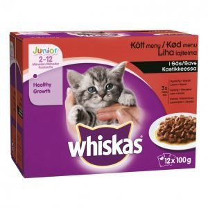 Whiskas Kissanruoka 12x100g Junior Lihalaj Kast