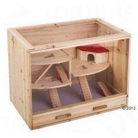 Wooden Cabin Pet Cage - P 80 x L 50 x K 60 cm